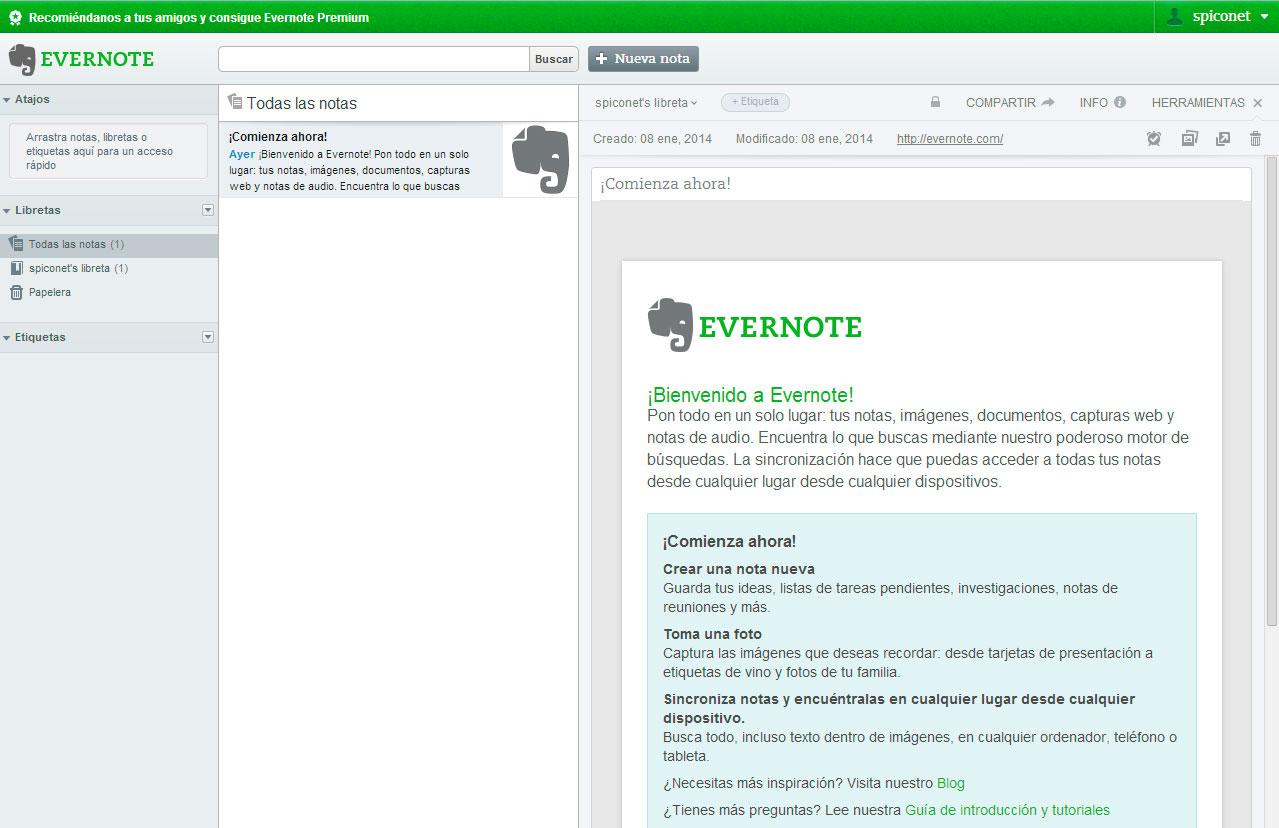 Evernote vacio